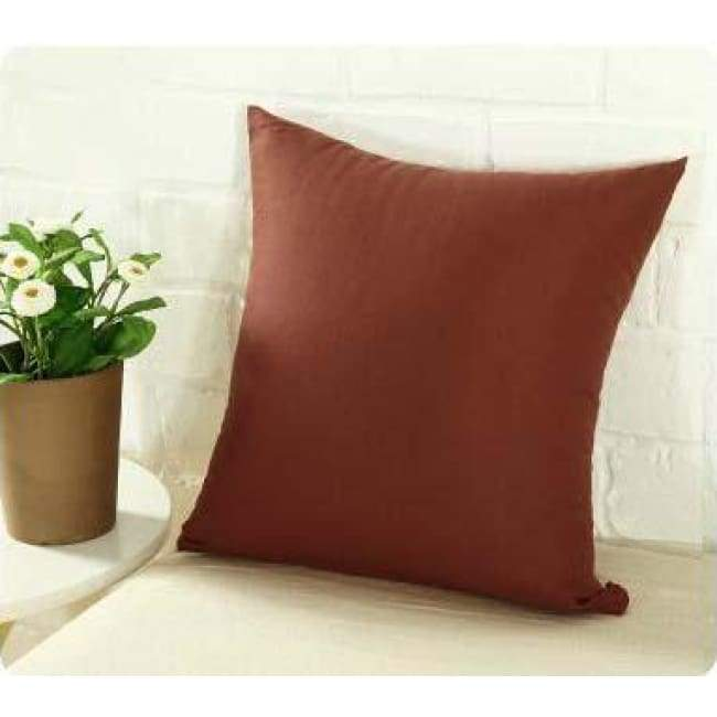 Plainly Coloured Cushion Covers - Brown / 40X40 Cm (16X16 Inches)