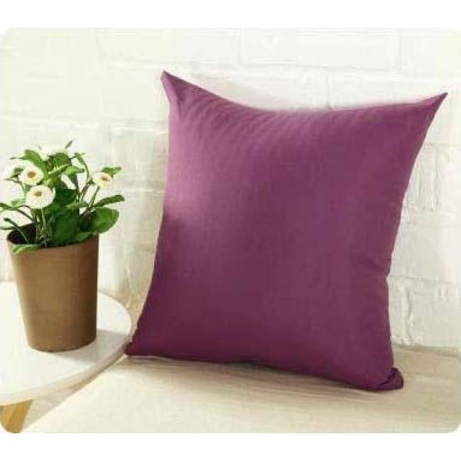 Plainly Coloured Cushion Covers - Deep Purple / 40X40 Cm (16X16 Inches)