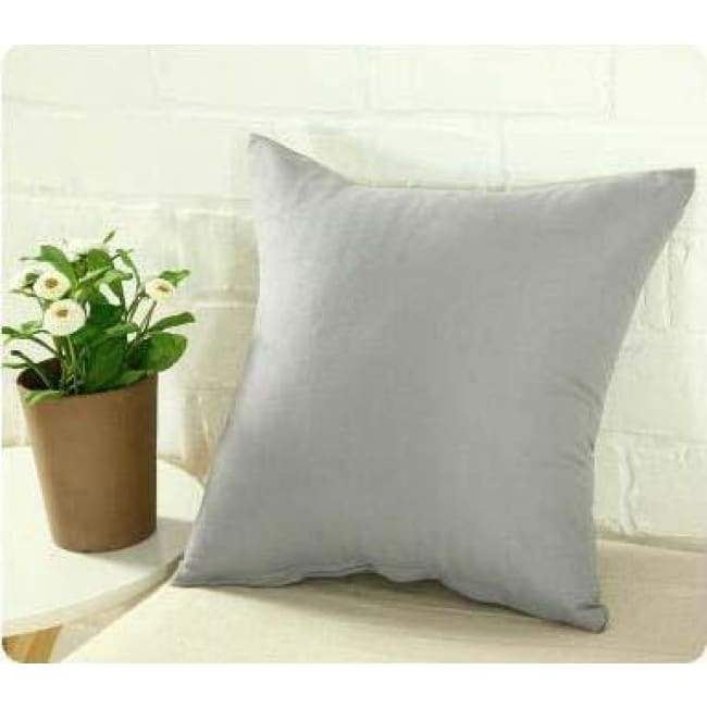 Plainly Coloured Cushion Covers - Grey / 40X40 Cm (16X16 Inches)