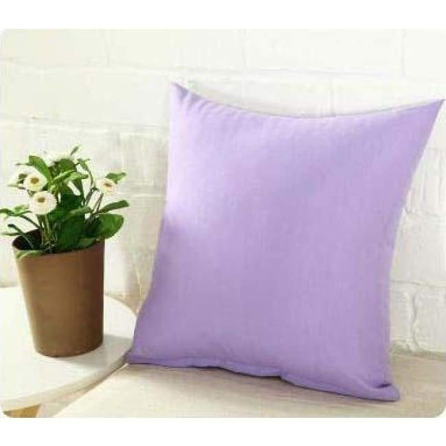 Plainly Coloured Cushion Covers - Lavender / 40X40 Cm (16X16 Inches)