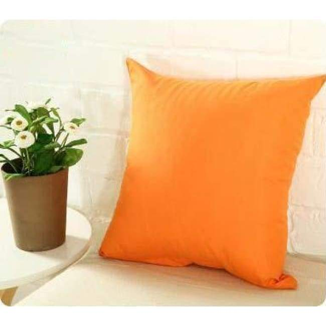 Plainly Coloured Cushion Covers - Orange / 40X40 Cm (16X16 Inches)