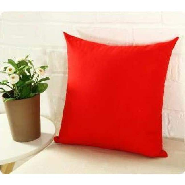 Plainly Coloured Cushion Covers - Red / 40X40 Cm (16X16 Inches)