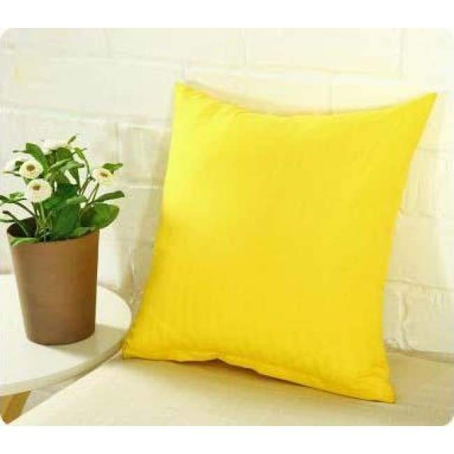 Plainly Coloured Cushion Covers - Yellow / 40X40 Cm (16X16 Inches)