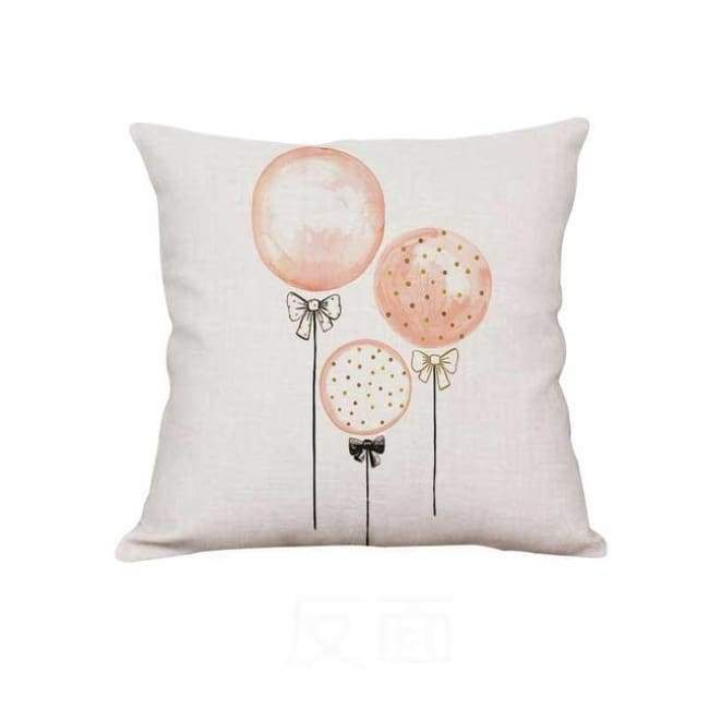Plush Pink Cushion Covers - Balloons / 40X40 Cm (16X16 Inches)