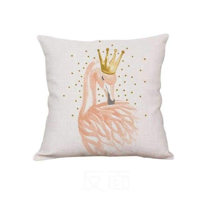 Plush Pink Cushion Covers - Crowned Flamingo / 40X40 Cm (16X16 Inches)