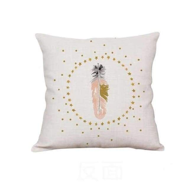 Plush Pink Cushion Covers - Starry Feather / 40X40 Cm (16X16 Inches)