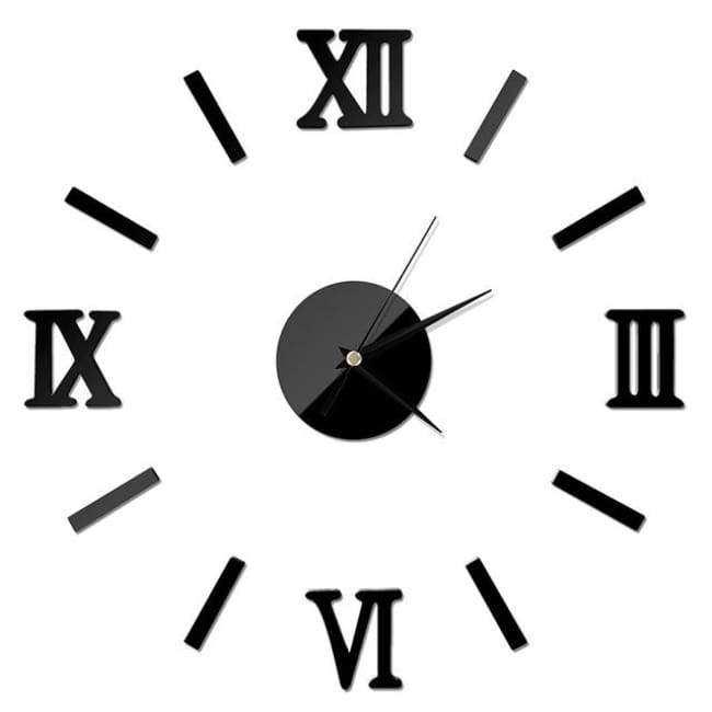 Roman Numerals Wall Clock - Black