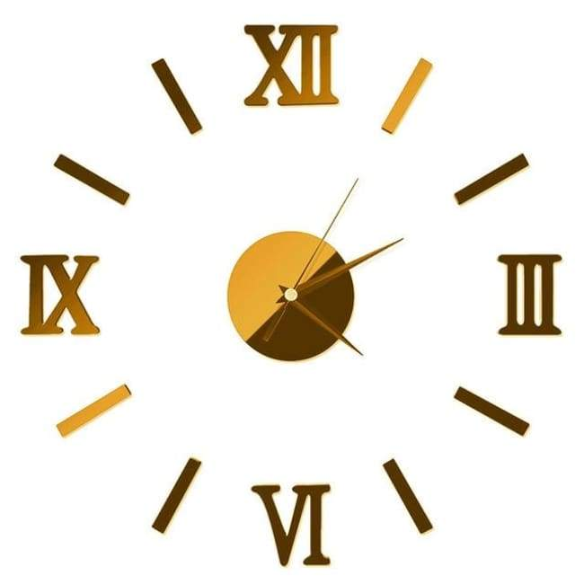 Roman Numerals Wall Clock - Gold