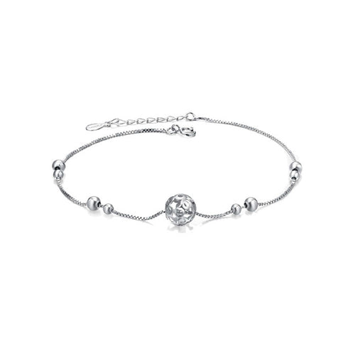 Silver anklet Japanese and Korean version of fashion silver jewelry fine female models stars hollow ball anklet simple birthday gift