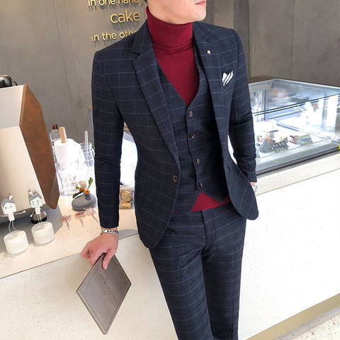 Men's suit set three-piece Korean version of the self-dressing dress wedding dress British professional small suit