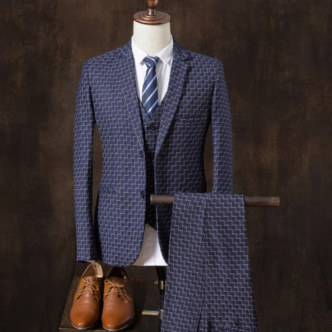 New fashion men's three-piece suit dark plaid small suit casual men's youth