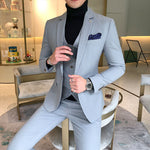 Suit male suit three-piece Korean version of the self-dressing dress wedding dress British professional small suit