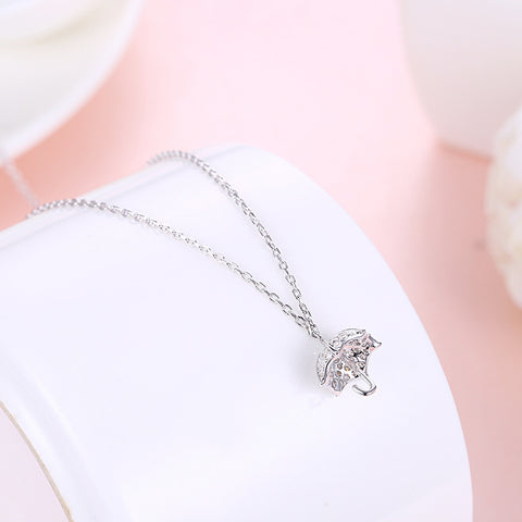 Sterling Silver Necklace Han Feng Sweet Studded Small Umbrella Pendant Silver Jewelry