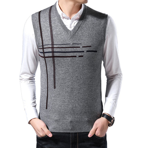 Spring and autumn new men's vest casual V-neck striped sleeveless sweater loose middle-aged trend vest