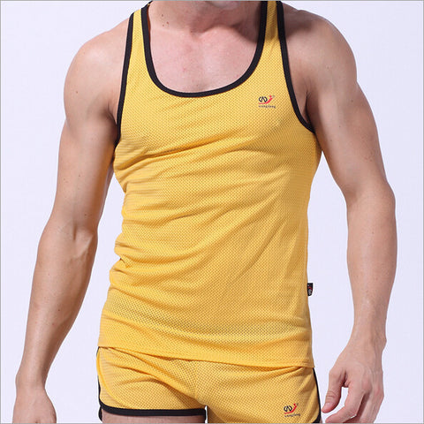 Men's vest mesh with iron ring breathable round neck printing men's vest