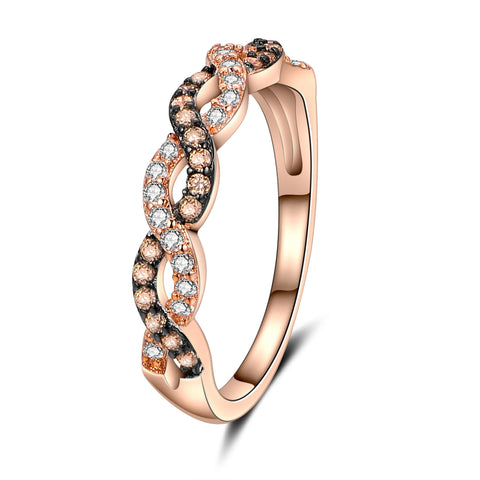 Popular winding micro-set diamond plated 18K rose gold ring