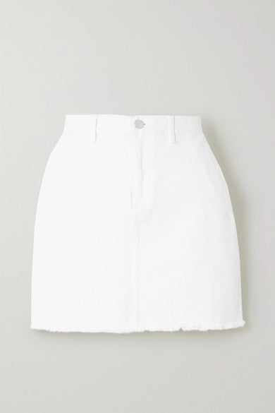 Akania frayed organic denim mini skirt