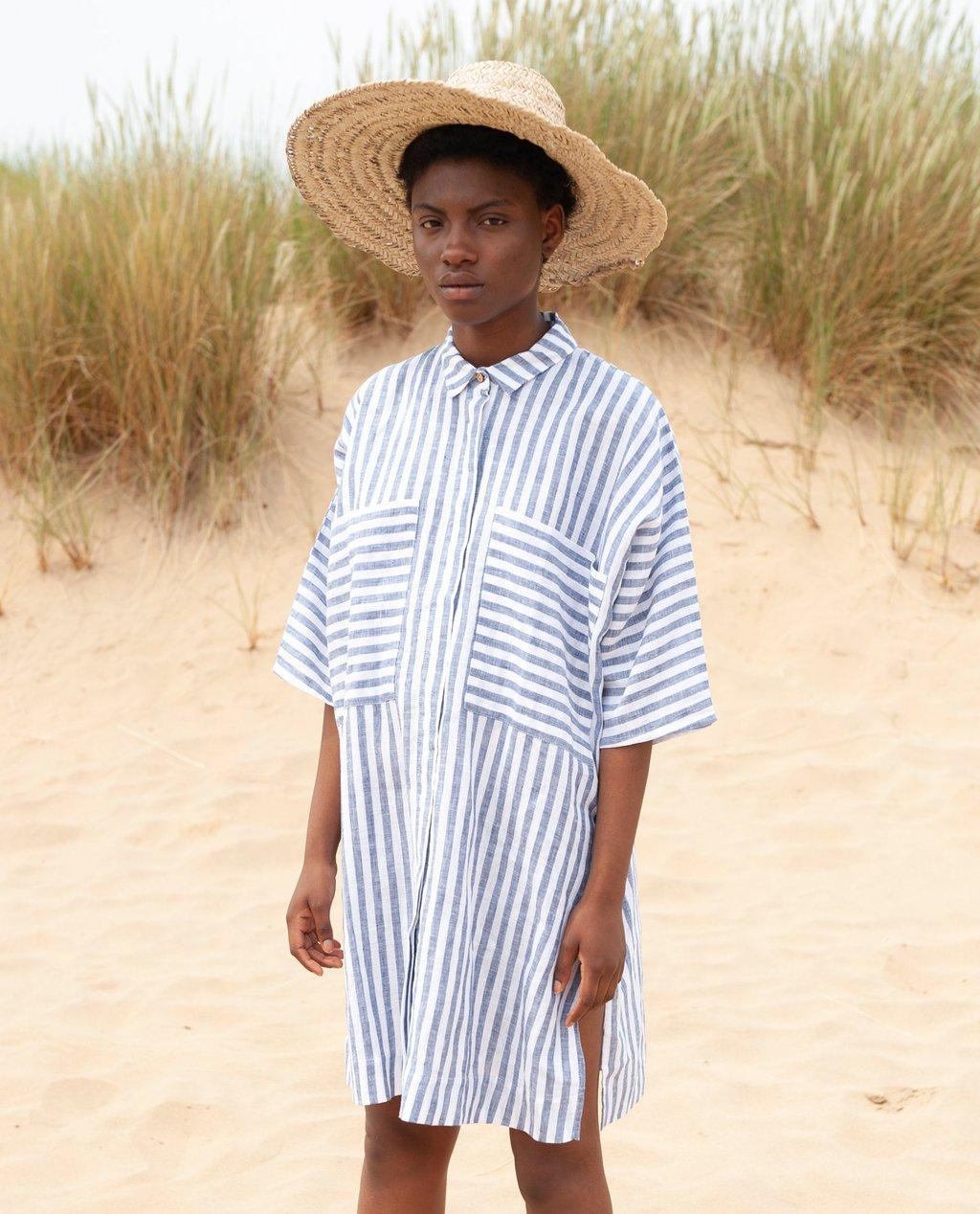 Sustainable dresses for summer 2019: MARSHA-SUE Linen Shirt In Blue Stripe Beaumont organic