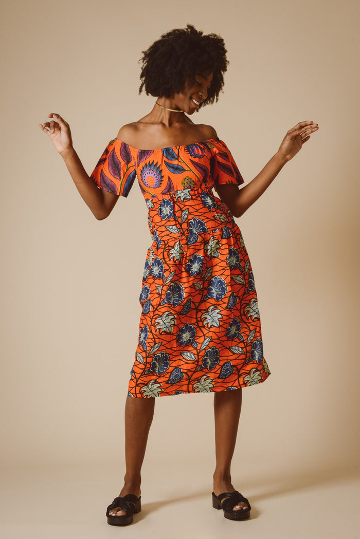 Chisomo Maxi Skirt in Orange Stargazer