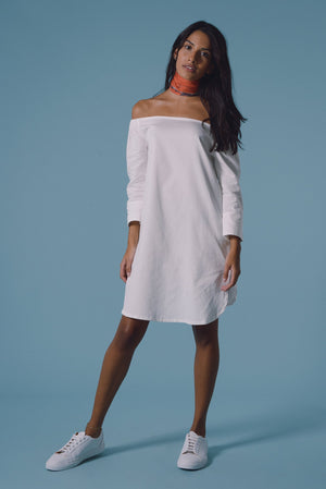 Allegra Bardot Dress in Organic White Cotton