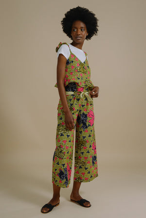 Ruth paperbag trousers in Pink and Yellow Green Forest