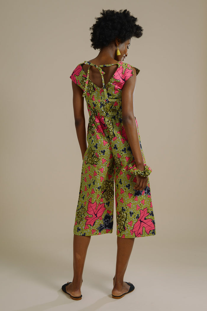Lamia Kimono Style Jumpsuit in Pink and Yellow Green Forest