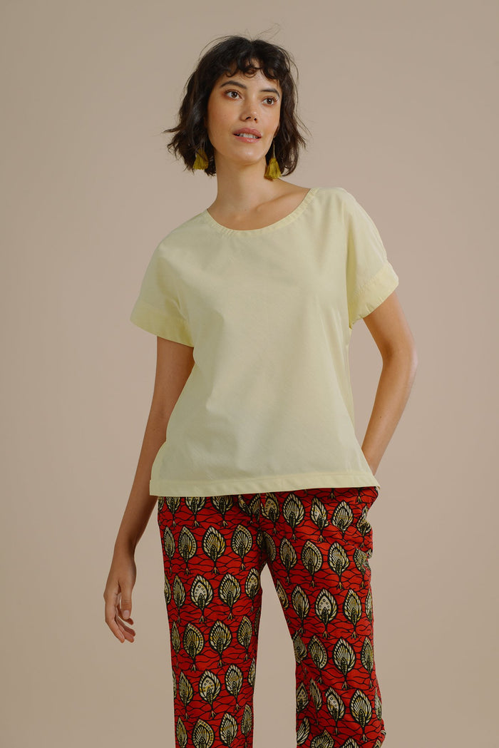 Brenda Kimono Sleeve Top in Lemon Sorbet Organic Cotton