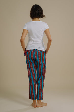 Stella lounge set with blue drawstring pants and organic cotton tshirt