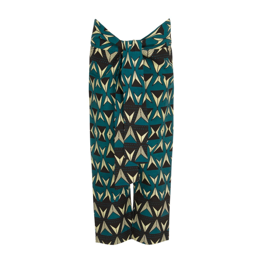 Adele Wrap Front Pants in Teal Triangles