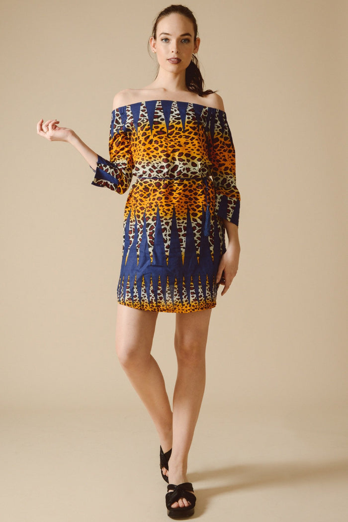 Allegra Bardot Dress in Blue Wilderness