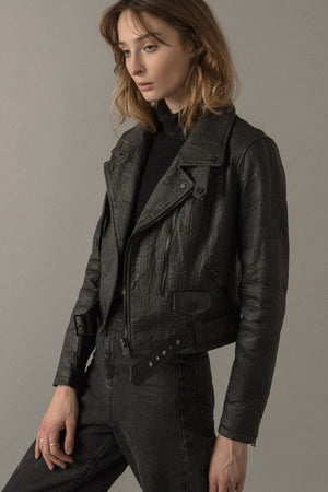 WOMENS NEO-CLASSIC BIKER JACKET IN BLACK