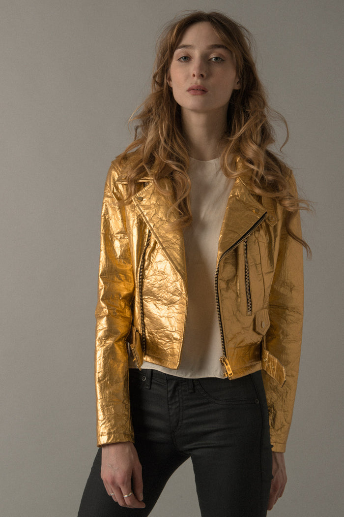 WOMENS NEO-CLASSIC BIKER JACKET IN GOLD