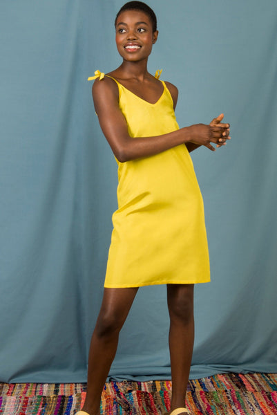 Anna Slip Dress in Canary Yellow