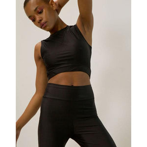 Go As U R Long Line Black Halter Crop Top