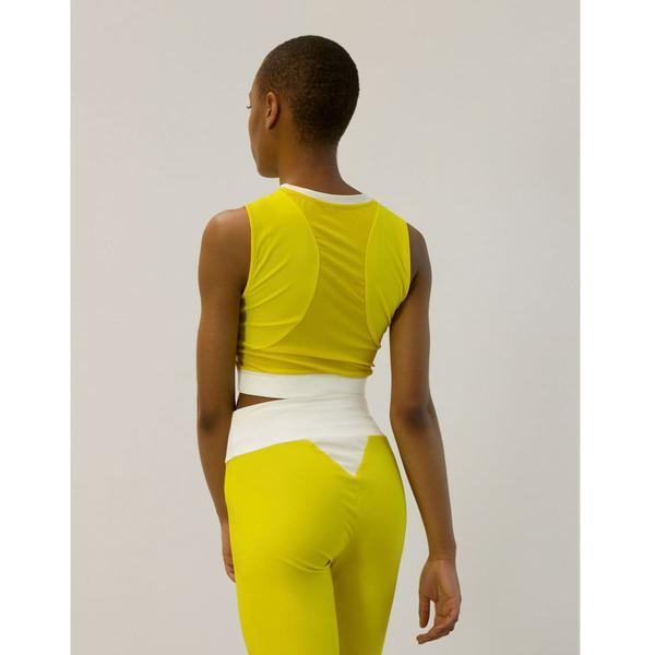 Go As U R Long Line Yellow Halter Crop Top
