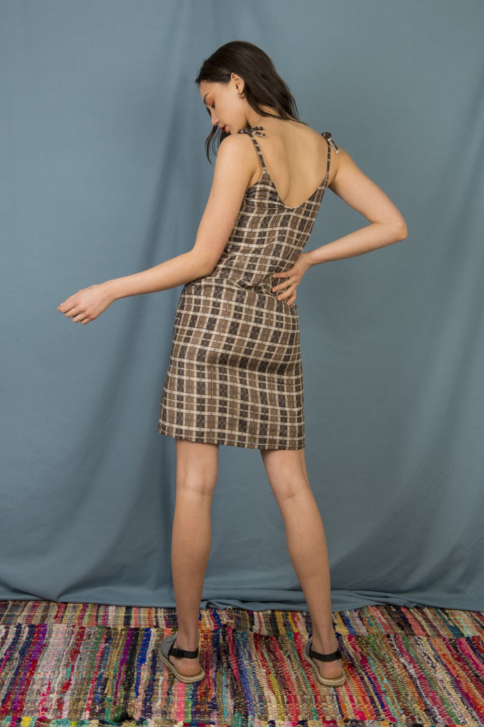 Anna Slip Dress in Brown Checks