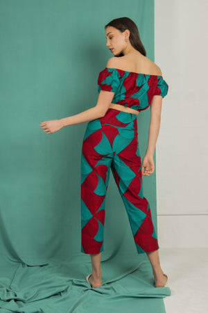 Adele Wrap Front Pants in Red and Aqua Windmill