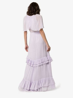 short-sleeved tiered maxi dress