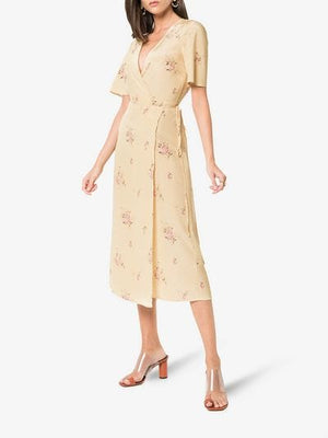 Jensen short sleeve silk dress