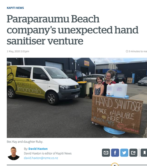 Paraparaumu Beach company's unexpected hand sanitiser venture