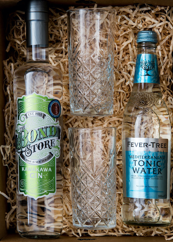 This gift box contains one 700 ml bottle of Kawakawa Gin complimented by two quality European high-ball cocktail glasses and a 500 ml bottle of Fever-Tree Mediterranean Tonic