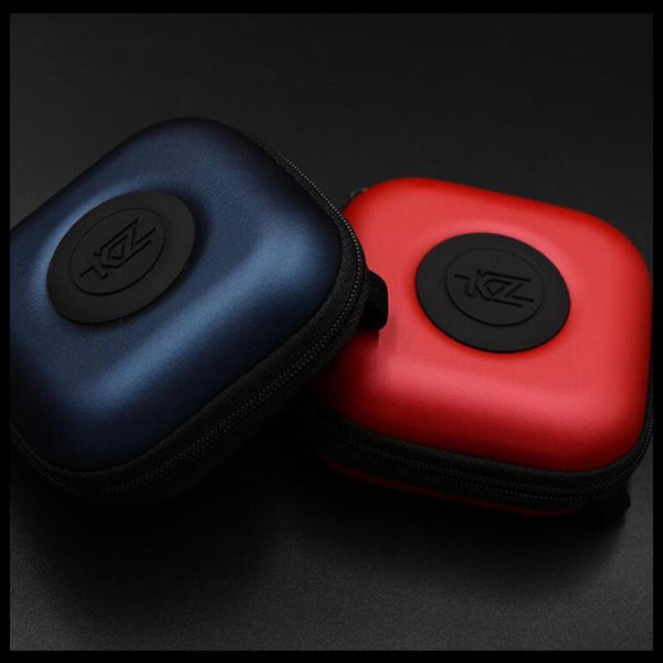 KZ Mini PU Earphone Bag Zipper Square Carrying Case Protective Bag Shockproof Headphone Storage Box