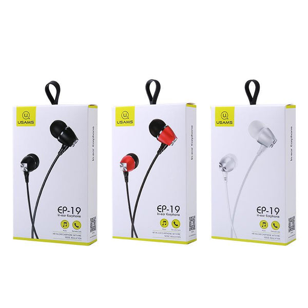 USAMS EP-19 Metal 3D Surround Stereo 3.5mm In-ear Heavy Bass Earphone Headphone for iPhone Samsung