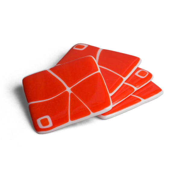 Orange and White Mod Squad Coaster Set