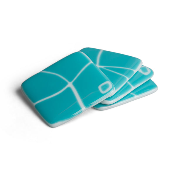Turquoise and White Mod Squad Coaster Set