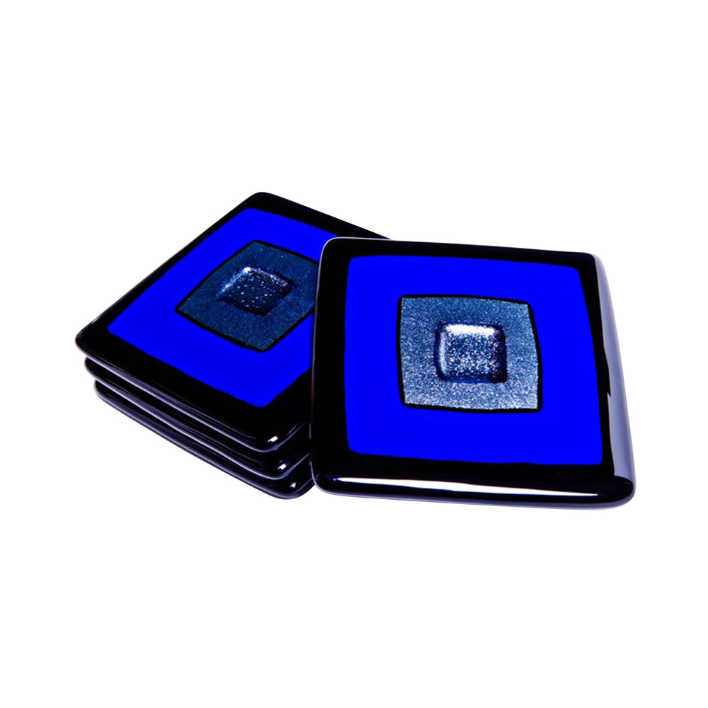 Cosmo Cobalt Blue, Silver, and Black Coasters