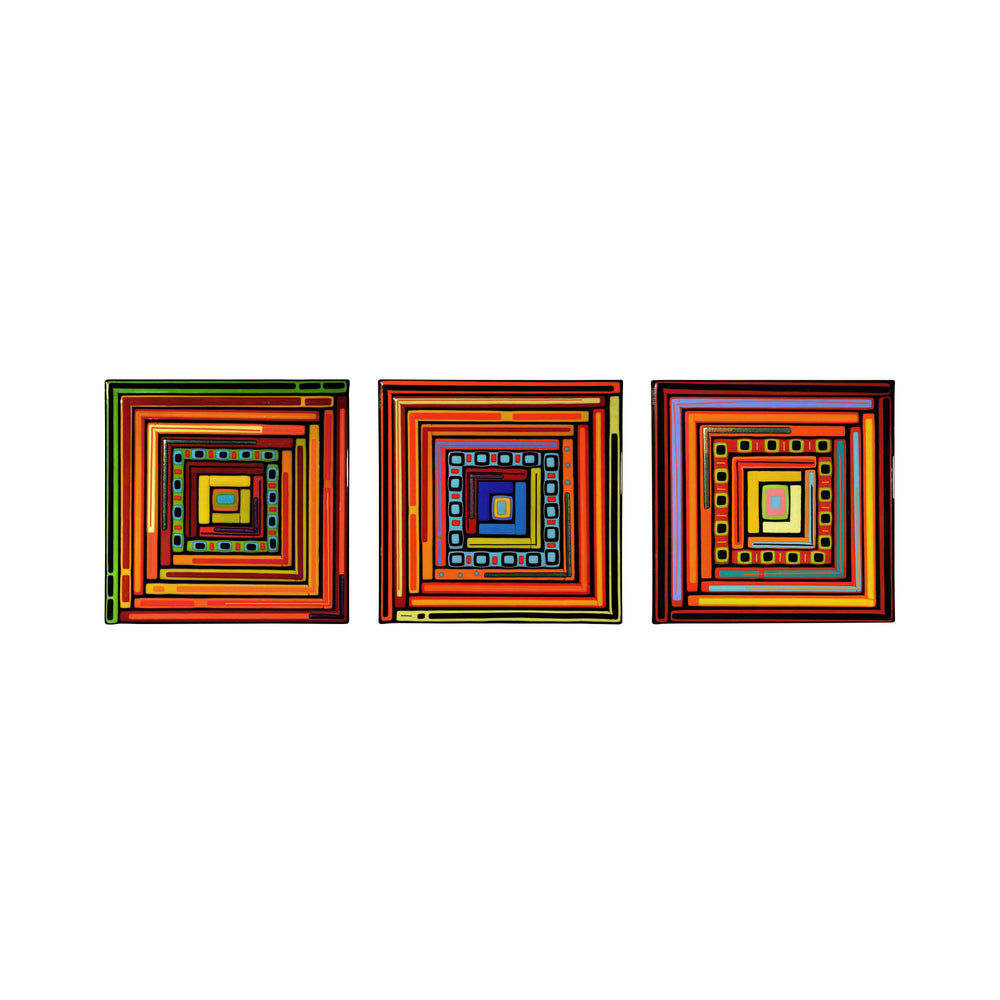 Log Cabin Square Triptych
