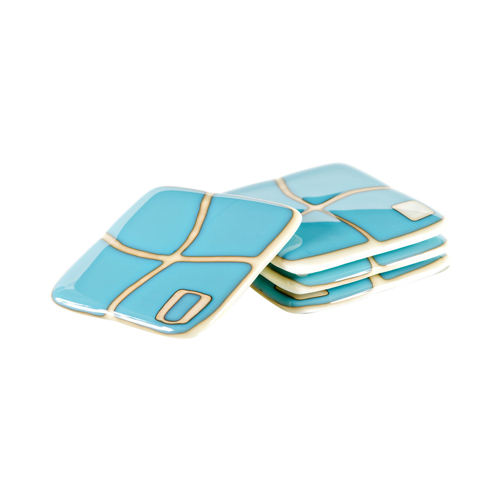 Turquoise on Ivory Mod Squad Coaster Set