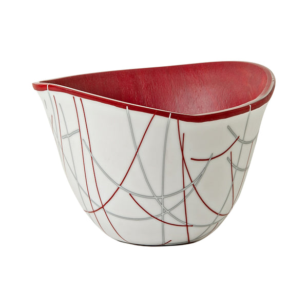 Helen Rudy Glass Bowl Red Stringer