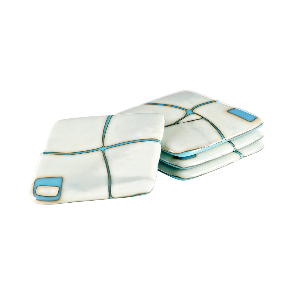 Ivory on Turquoise Mod Squad Coaster Set